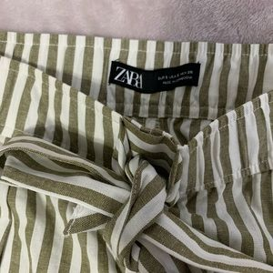 Zara olive green and white paper bag trousers